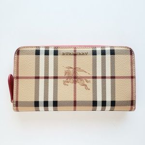 Burberry Vintage Check Two-Tone Wallet- Beige/Red